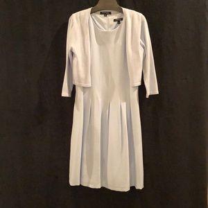 Light Blue sleeveless dress. 3/4 sleeve sweater.